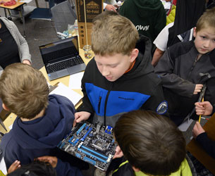 STEM exhibit, computers